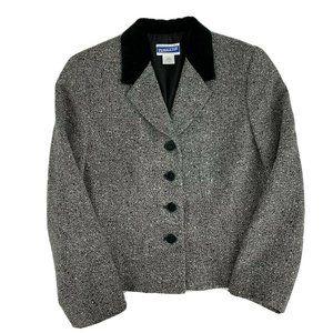 Pendleton Gray Black Womens Wool Blend Blazer 8P